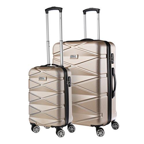 Travelz Diamond - Luxuriöses Kofferset - 2-teilig - Trolleyset mit TSA Schloss - Koffer mit Doppelräder und komplett gefüttert (Champagner)
