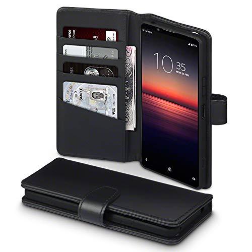 TERRAPIN, Kompatibel mit Sony Xperia 1 II Hülle, [ECHT Leder] Brieftasche Hülle Tasche mit Standfunktion Kartenfächer & Bargeld - Schwarz