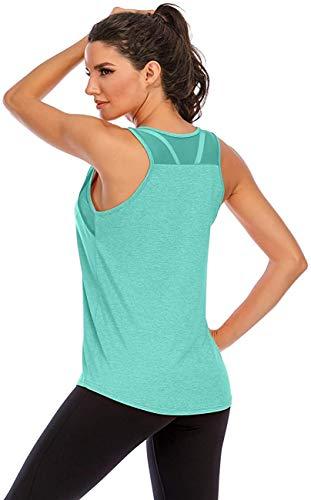 Nekosi Damen Yoga Tanktops Ärmelloses Sportshirt Kleidung Mesh Zurück Fitness Laufen Shirt Sport Oberteile Grün X-Groß