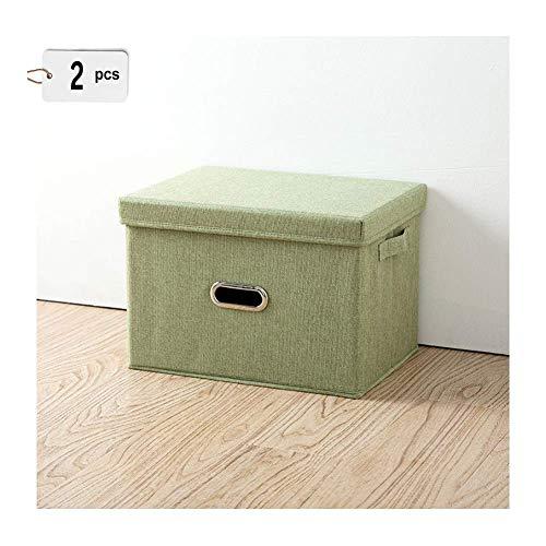 Kleding katoen en linnen opbergdoos grote stof met deksel inklapbare wasbare katoen quilt afwerking opbergdoos (2PCS) L Groen