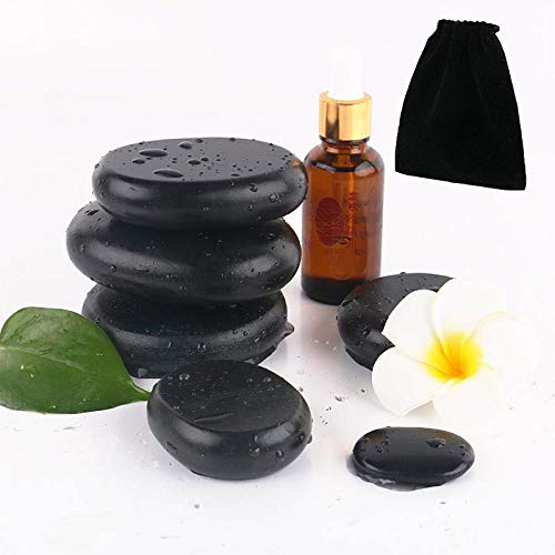 Hot Stones - 4 Large Essential Massage Stones Set (1.96in-2.36in) for Professional or Home spa,...