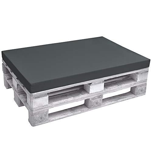 Beautissu Euro Pallet Cushion ECO Pure Sitzkissen Seat Pad Cushion for Pallet Furniture 120 x 80 x 8 cm Graphit Grey