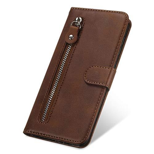 HAOYE Hülle für Oppo Find X2 Neo Wallet Brieftasche, Oppo Find X2 Neo Flip Handyhülle, Premium Leder mit Ständer Funktion und Kartenfach und Magnetic Snap Schutzhülle, Braun