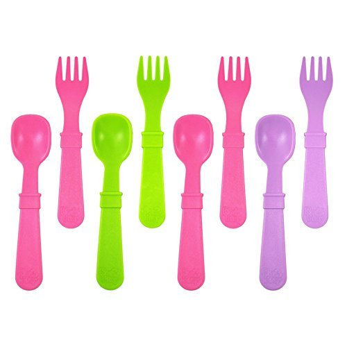 Re-Play Made in USA 8 Count Toddler Feeding Utensils Spoon and Fork Set for Easy Baby, Toddler, Child Feeding - Purple, Green, Bright Pink (Butterfly)