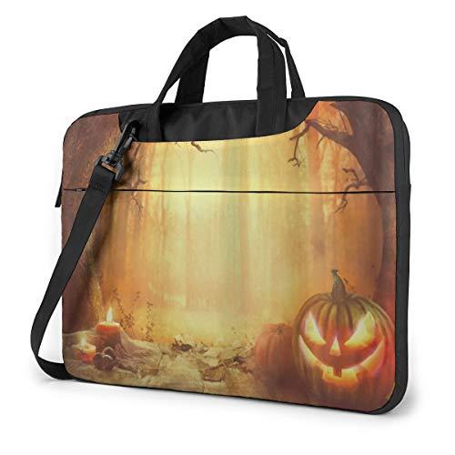 Halloween Pumpkin Forest Laptop Carrying Case Shoulder Bag Briefcase W/Strap Women Men 13'