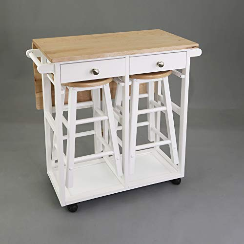 Casual Home Breakfast Cart with Drop-Leaf Table, Natural&White