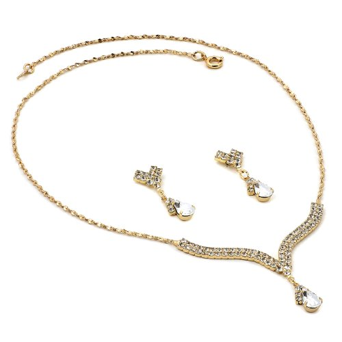 Topwholesalejewel Gold Crystal Rhinestone Necklace with 2 Line Teardrop Center & Matching Dangle Earrings Jewelry Set