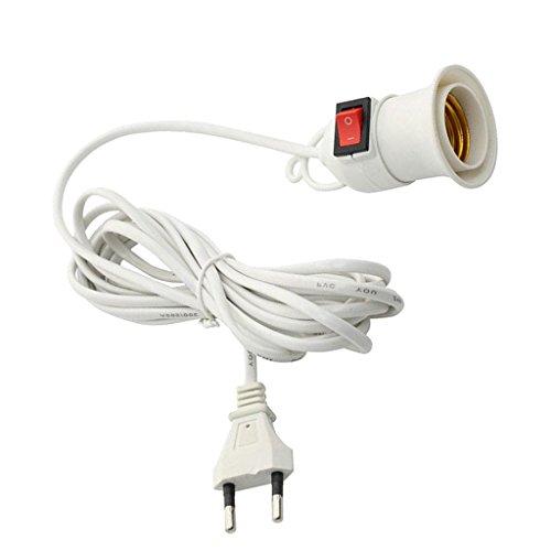 Baoblaze Porte-Lampe E27 avec Anneau Fileté et Cordon d'alimentation avec Interrupteur - Support de Lampe et Câble 5m Blanc Plug EU