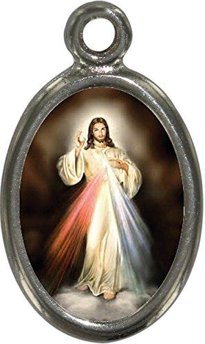 Ferrari & Arrighetti Barmherziger Jesus Medaille, Anhänger mit harzbeschichtetem Bild, Höhe 2,5 cm (10er Pack)
