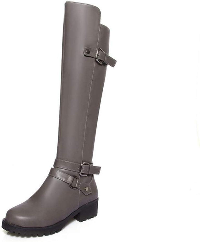 T-JULY Women Knee High Boots Warm Winter shoes Women Motorcycle Buckle Thick Heel Boots Vintage Punk Footwear Size 34-43