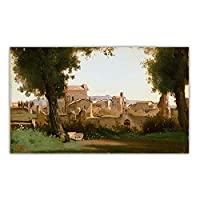 ジャンバティストカミーユコローファルネーゼ庭園からの眺め、ローマキャンバス絵画背景壁家の装飾画像60x90cmフレームレス