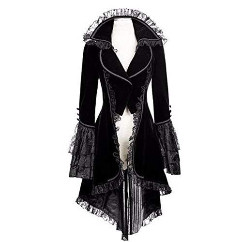 Briskorry Damen Steampunk Gothic Long Coat Frauen Vintage Langärmelige Taille Rücken Bandage Lace Stitching Jacke Overcoat Kostüm Cosplay Kostüm Smoking Uniform