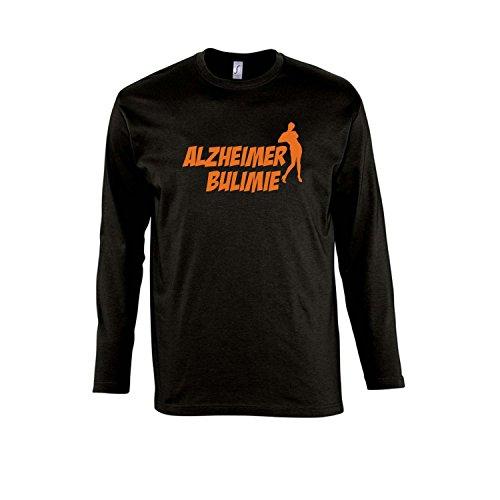 ALZHEIMER BULIMIE - Herren Langarm Longsleeve T-Shirt S-XXL , Deep black - orange , L