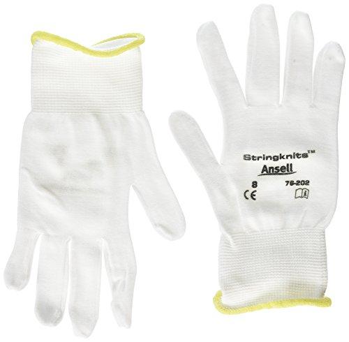 Ansell Stringknits 76-202 Guanto Multiuso, Protezione Meccanica, Bianco, Taglia 8 (Sacchetto di 12 Paia)