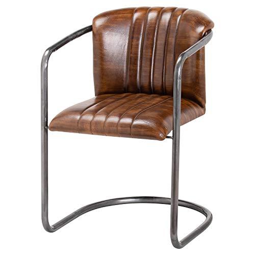 DOWNTON INTERIORS Silla de oficina de comedor de piel acanalada de color marrón cigarro envejecido (H21047) ** Otras sillas 'BILLY' están disponibles**