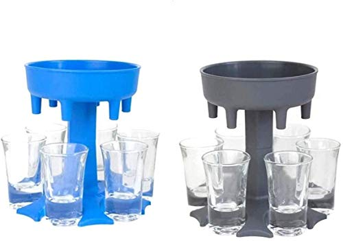 6 Shot Glass Dispenser and Holder,Dispenser for Filling Liquids, Shots Dispenser, Bar Shot Dispenser, Cocktail Dispenser, GREAT party gift US (Blue+Grey)