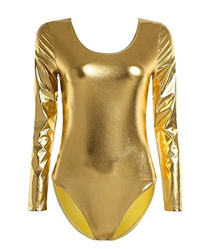 Furein Klassischer Tanzbody für Ballett / Turnen, für Damen, lange Ärmel, elastisch, Rundhalsausschnitt Medium gold