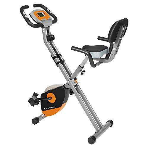 SONGMICS Bicicleta de Ejercicio, Bicicleta Estática, Bicicleta Fitness en Casa, Plegable con Respaldo, Sensor de Pulso, 8 Niveles de Resistencia Magnética, Peso Máx. 100 kg, Naranja y Gris SEB012O01