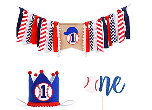 Lemon House Set of 3 Baseball Themed First Birthday Party Decoration Set, Baseball Highchair Banner, Baseball Headband, And Baseball Cake Topper, For Baby Boy 1st Year Birthday Baseball Themed Party Decoration-No Assembly Required