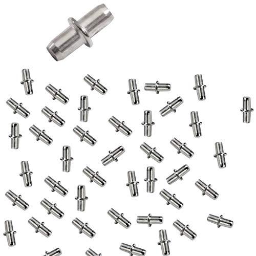 Euro Tische 50x Bodenträger 5mm Einlegeboden Halter - Stabile Metall Regalstifte für Regale Aller Art mit Ring für Bohrung, 15mm lang
