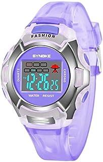 HUFAN 99329 Waterproof Luminous Sports Electronic Watch for Children(Black) (Color : Purple)
