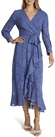 Tahari ASL Women s Long Sleeve V Neck Lace Surplus Dress with Ruffle Skirt Periwinkle 8 product image