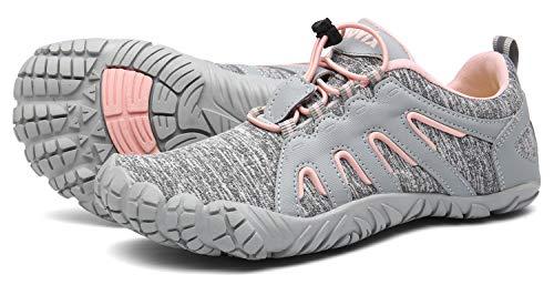 Voovix Herren Trekkingschuhe Damen Wanderschuhe Barfußschuhe Laufschuhe Traillaufschuhe Knit Sneaker Fitnessschuhe im Sommer Grau Pink40