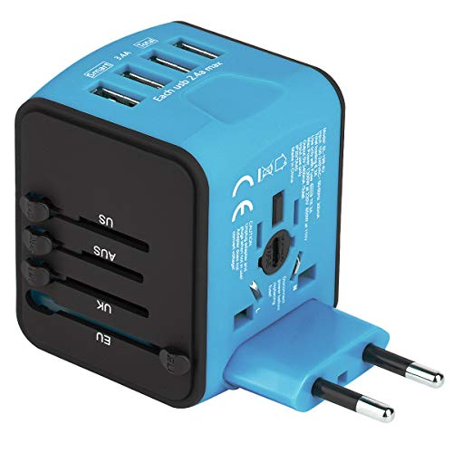 4 USB Smart 2.4A Ports Universal Travel Adapter International/Worldwide All in One USB Power Converter Universal Travel Plug Power Adapter USB Wall Quick Charging Socket for USA EU UK AUS Asia