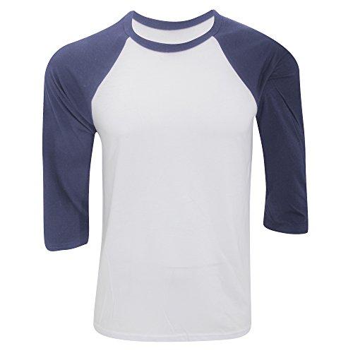 Camiseta de béisbol para hombre con manga de 3/4 Blanco Blanco / Azul Marino Large