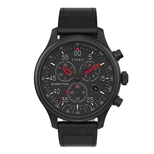 Timex Herren Chronograph Quarz Uhr mit Leder Armband TW2T73000