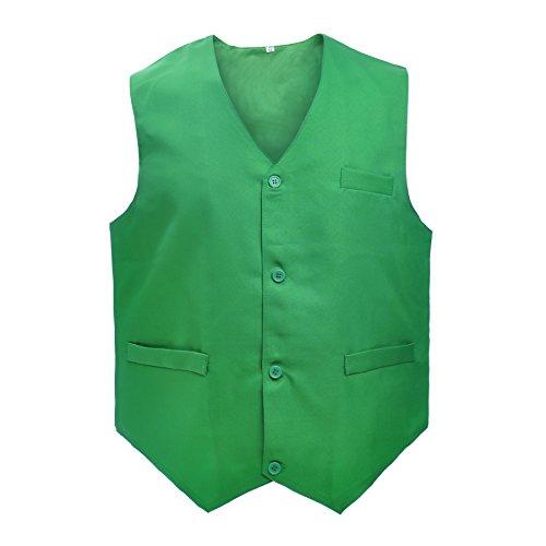 TOPTIE Waiter Uniform Unisex Button Vest for Supermarket Clerk & Volunteer-Green-US Size M