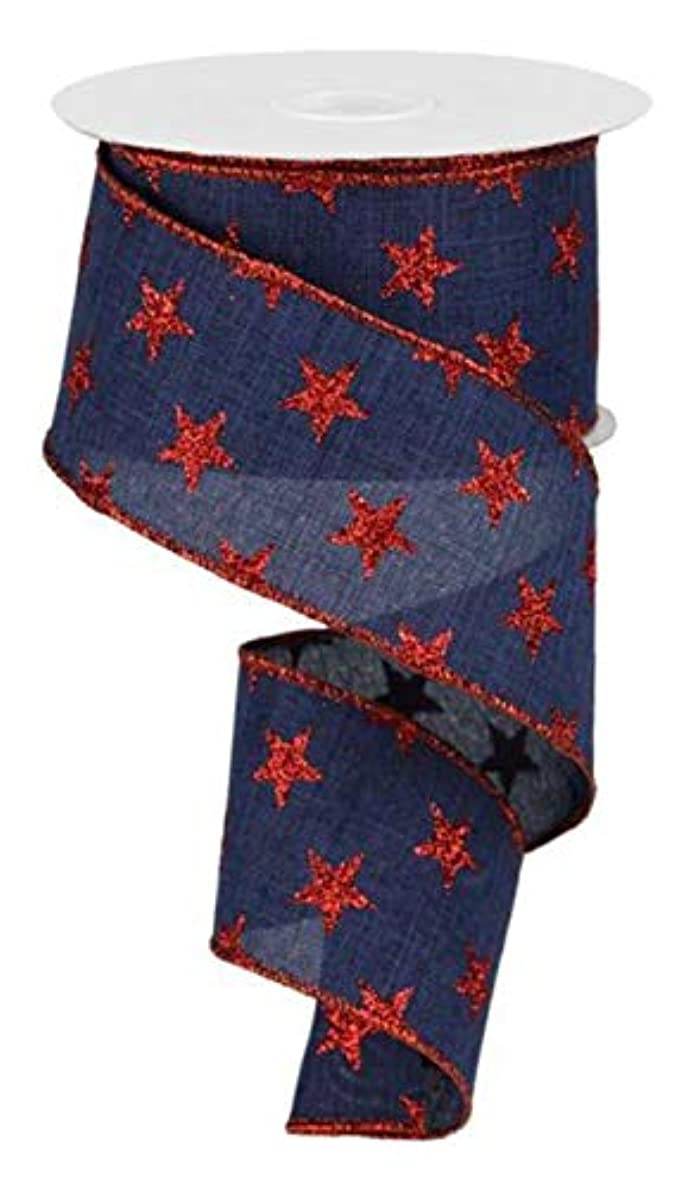 Stars Wired Edge Ribbon - 10 Yards (Navy Blue, Red, 2.5