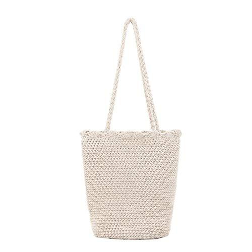 Lucky-all star La Moda de Verano Tejida la Bolsa de Asas - Algodón Cuerda Crochet Solo Bolso de Hombro, Playa de Vacaciones Bolso de Moda Bolso de Cubo Ocasional para Mujeres Damas niñas