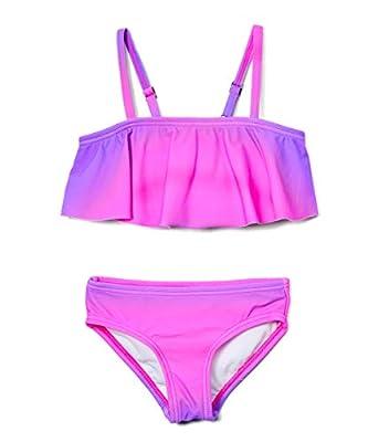 Kanu Surf Girls' Karlie Flounce Bikini Beach Sport 2-Piece Swimsuit, Janie Pink, 12