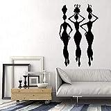 JXAA Calcomanías de Pared africanas salón de Belleza Dormitorio decoración del hogar Silueta de Mujer Africana Estilo Africano Pegatina de Ventana de Vinilo Mural 54x85cm
