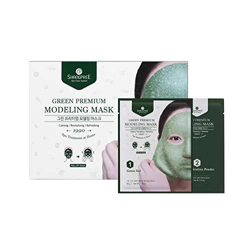 SHANGPREE Green Premium Modeling Mask (Set of 5 Masks), Green Gel & Spirulina Powder'Rubber' Mask, Premium Korean Skincare, aqua jelly hydrojelly