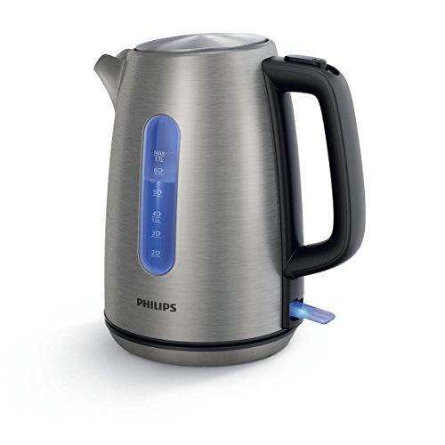Philips Cucina HD9357/10 Bollitore Elettrico, capacità 1.7 L, 2200 W, 14 Cups, Inox/Plastica PP, Acciaio Metallizzato