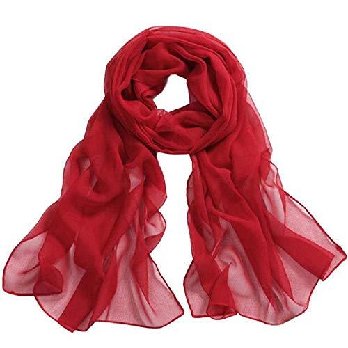 YEBIRAL Damen Schal Ganzjährig Chiffon Einfarbig Super Weich Deckenschal Halstuch(Rot)