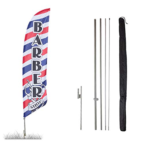 Vispronet - Barber Shop Feather Flag Kits - 13.5ft Flag Complete Pole Set Ground Stake � Great for Businesses, Storefronts, Sales - Printed in The USA