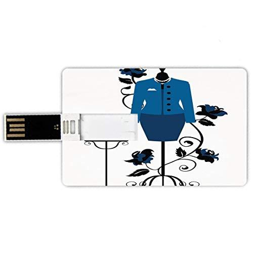USB-Sticks 16GB Kreditkartenform Absätze und Kleider Memory Stick-Bankkartenstil Mannequin im Schneidershop mit blühender Blumen-Retro- klassischem dekorativem,blauem Schwarz-Weiß Wasserdichte stift d
