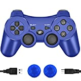 CFORWARD PS3 Controller Wireless, PS3 Joystick, Play 3 Remote Double Vibration 6-Axis Gamepad Compatible with Playstation 3 (Blu)