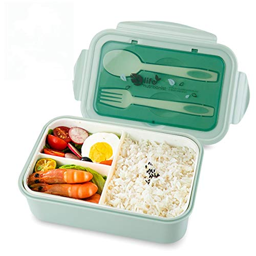 vitutech Brotdose Lunch Box Kinder, Bento Box Lunchbox mit 3 Fächern und Besteck, Vesperdose Geeignet für Mikrowellen und Spülmaschinen, Schule Arbeit Picknick Reisen, kein Fremdgeruch (Grün)