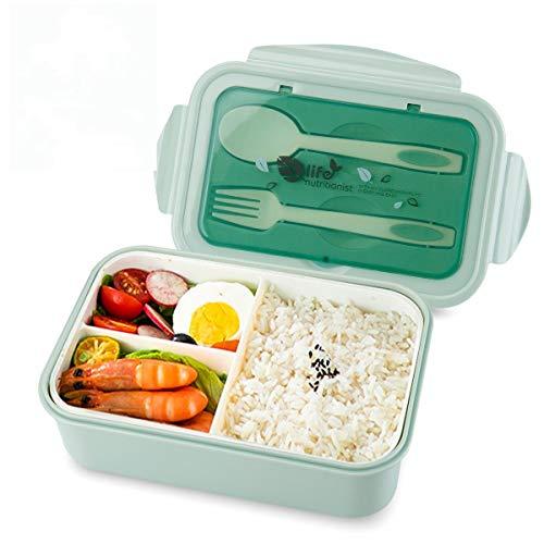 vitutech Lunch Box, Bento Box Boite Bento avec Fourchette Et 3 Compartiments1400ml Sécurité Anti-Fuite Écologique Hermétique Boîte à Repas pour Le Pique-Nique, l'école, Le Travail, Bureau