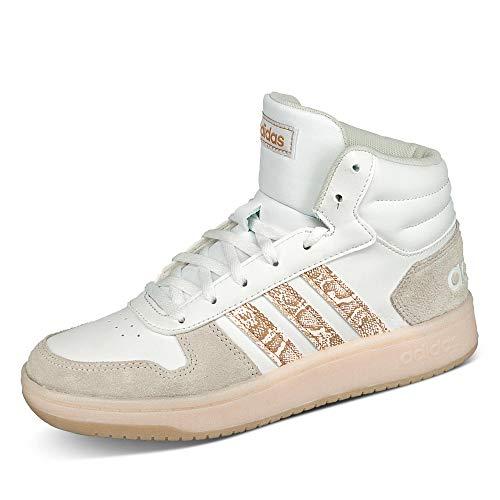adidas Damen Hoops 2.0 MID Sneaker, Ftwbla/Matros/Ormetr, 39 1/3 EU