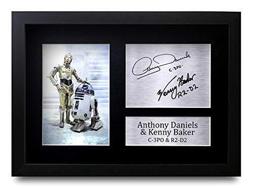 HWC Trading Anthony Daniels & Kenny Baker C-3Po R2-D2 A4 Gerahmte Signiert Gedruckt Autogramme Bild Druck-Fotoanzeige Geschenk Für Star Wars Filmfans