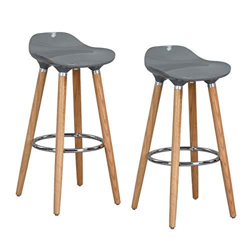 FurnitureR set di 2 sgabelli da bar, sgabello da banco stile moderno, sgabello da cucina per colazione con gambe in legno, Grey, 2 pezzi