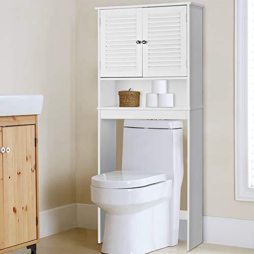Giantex Over-The-Toilet Bathroom Storage Space Saver with 2 Door Cabinet Storage Shelf, White