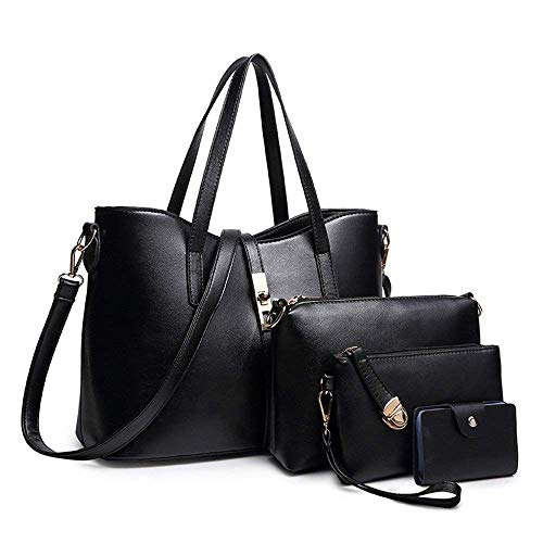 Women Fashion Synthetic Leather Handbags+Shoulder Bag+Purse+Card Holder 4pcs Set Tote