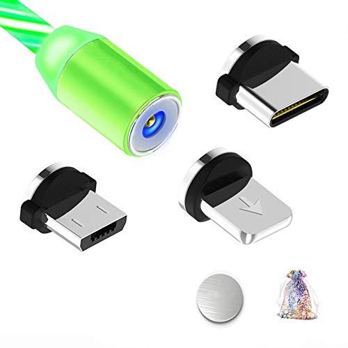 Kyerivs Magnetisches Ladekabel mit Sichtbar fliesendem LED Licht Micro USB Ladekabel Typ C Schnelle Aufladung 3 in 1 Kabel kompatibel fur SmartphoneSamsung Galaxy Huawei und Mehr No Sync Data