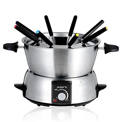 AONI fondue para 8 personas, fondue eléctrica de acero inoxidable, 2L, control de temperatura, 8 tenedores codificados por colores, 800W, para queso, chocolate, salsas